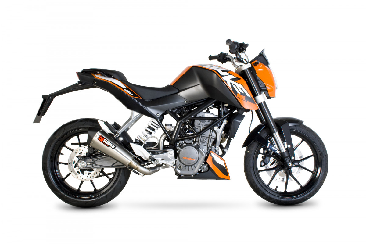 ktm duke 125 200 exhausts duke 125 200 performance exhausts scorpion exhausts. Black Bedroom Furniture Sets. Home Design Ideas