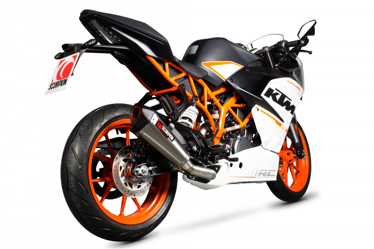 ktm rc 390 exhausts rc 390 performance exhausts scorpion exhausts. Black Bedroom Furniture Sets. Home Design Ideas